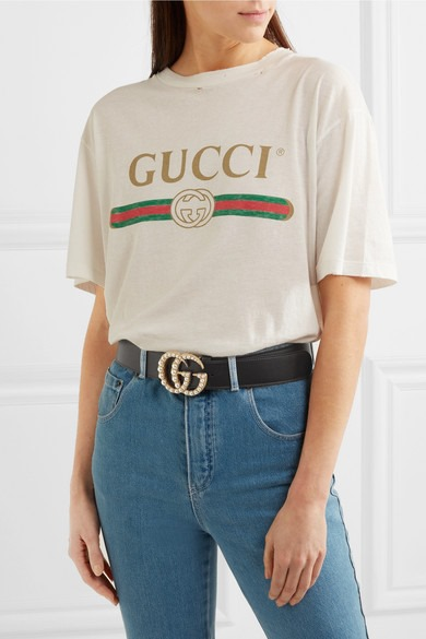 Thắt Lưng Gucci Leather Belt With Pearl Double G 1