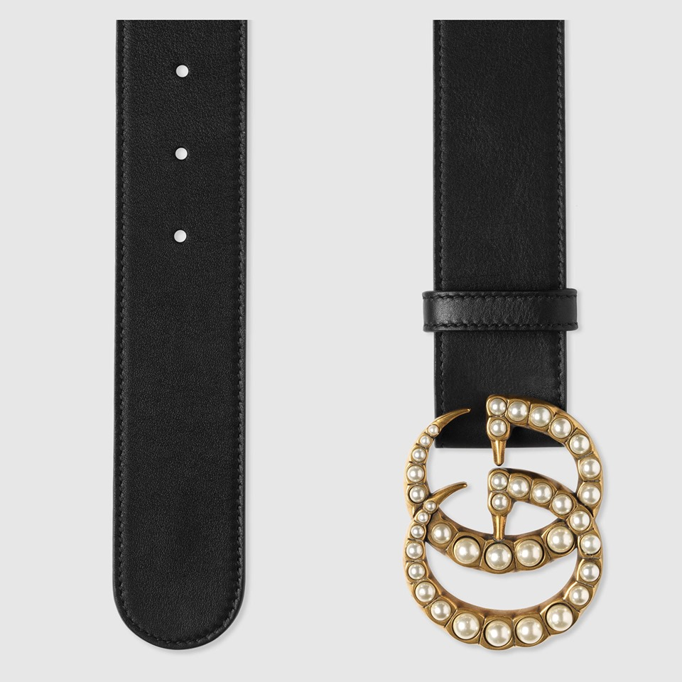 Thắt Lưng Gucci Leather Belt With Pearl Double G 3
