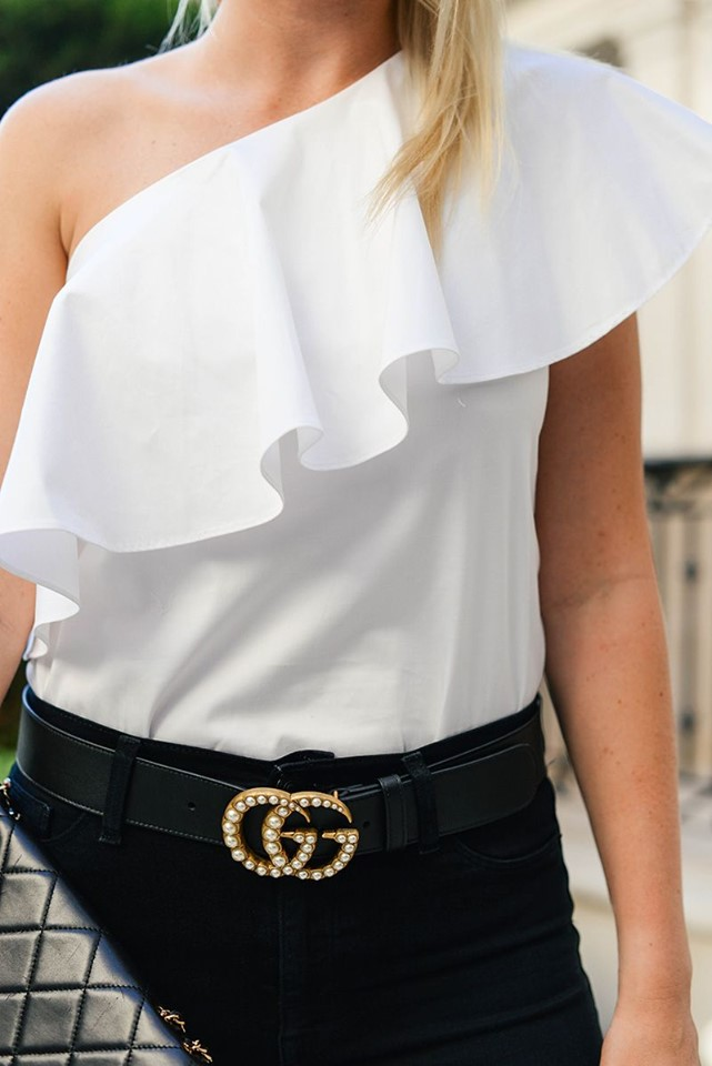 Thắt Lưng Gucci Leather Belt With Pearl Double G 2